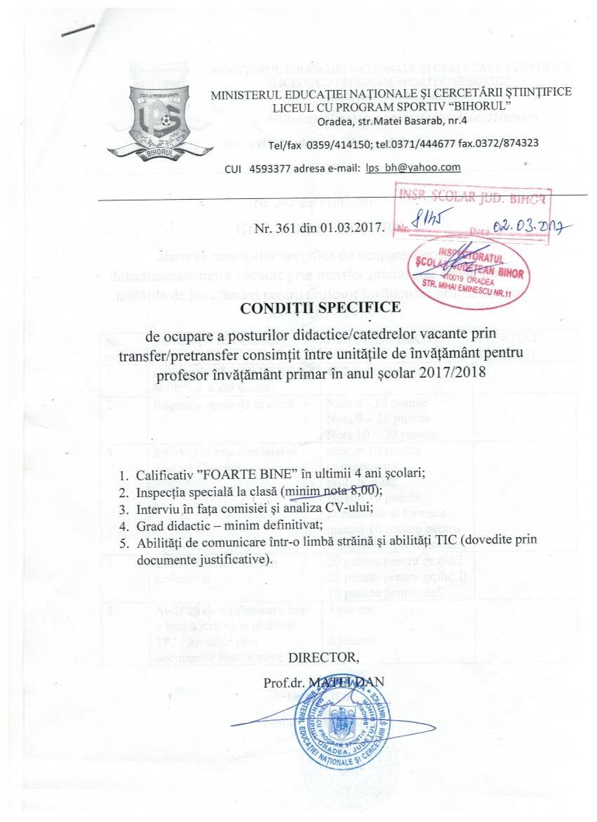 Conditii specifice de ocupare a posturilor didactice vacante